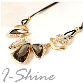 【I-Shine】韓系飾品-復古幾何形狀水晶項鍊