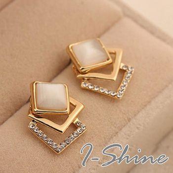 【I-Shine】韓系飾品-貓眼石立體方塊氣質鑲鑽耳環