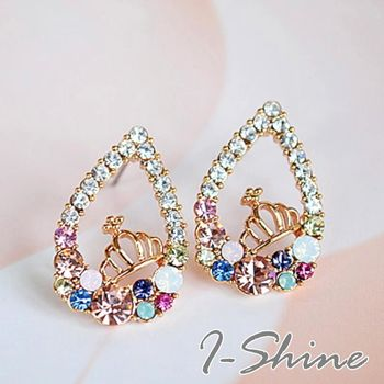【I-Shine】韓系飾品-皇冠水滴彩鑽耳環