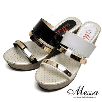 【Messa米莎專櫃女鞋】MIT閃亮金屬線條帶厚底涼拖鞋-型(網)-二色