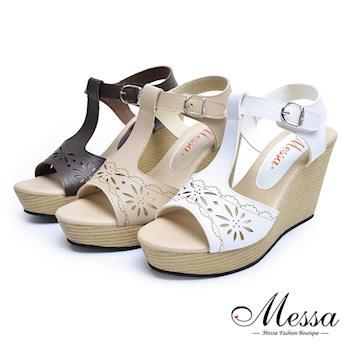 【Messa米莎專櫃女鞋】MIT氣質淑女簍空雕花楔形高跟涼鞋-型(網)-三色