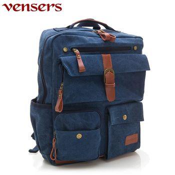 vensers 韓潮棉麻包系列後背包寶藍色D063301