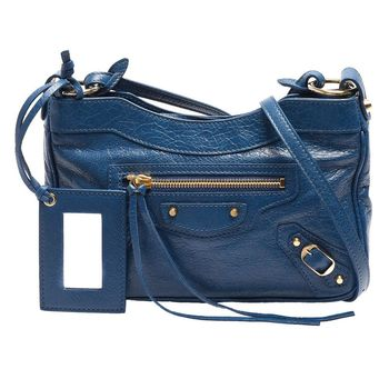 BALENCIAGA 巴黎世家 HIP系列亮金釦羊皮手拿/斜背包(藍)