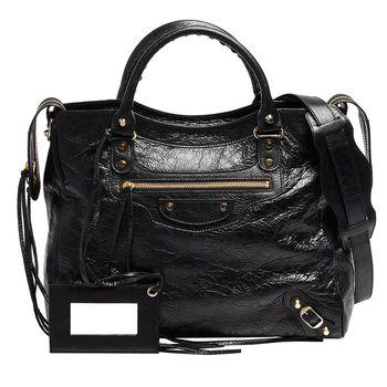 Balenciaga 巴黎世家VELO羊皮手提/肩背機車包(黑色)