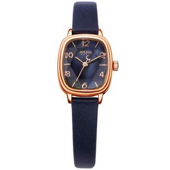 【JULIUS】星光大道立體鏡面皮錶帶腕錶(二色/22x25mm)