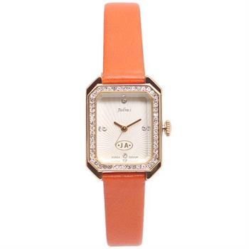 【JULIUS】凡爾賽午茶復古水鑽皮帶腕錶(二色/22x30mm)