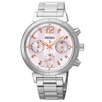 SEIKO LUKIA 花蝶綻放太陽能計時碼錶-粉紅/35mm/V175-0CZ0S(SSC857J1)