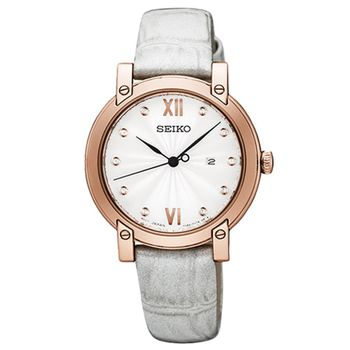 SEIKO 精工 典雅奢華晶鑽時尚女錶(SXDG82P1)-銀x玫塊金框/31mm/7N82-0JM0P