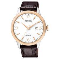 CITIZEN 星辰 光動能紳士腕錶-玫瑰金圈x咖啡/40mm BM7304-16A
