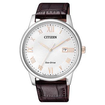 CITIZEN 星辰 光動能羅馬腕錶-白x咖啡/40mm BM6974-19A
