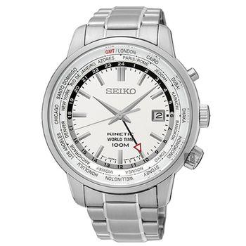SEIKO 精工 KINETIC 世界時間不鏽鋼腕錶/銀/43mm/5M85-0AF0S/SUN067P1