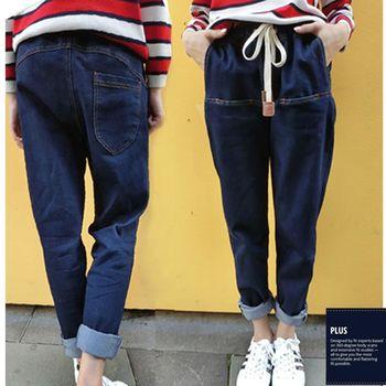 【SCL南加州丹寧時尚】B1703 深藍百搭輕鬆寬管綁帶牛仔老爺褲