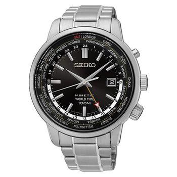 SEIKO 精工 KINETIC 人動電能微笑時尚不鏽鋼腕錶/43mm/5M85-0AF0D/SUN069P1
