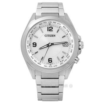 CITIZEN 星辰表 / CB1070-56B / 時尚簡約藍寶石水晶電波光動能鈦金屬手錶 銀色 40mm