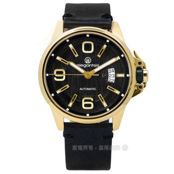 elegantsis / ELJT55A-NB03LC / 品味強勢回歸機械真皮手錶 黑x金框 44mm