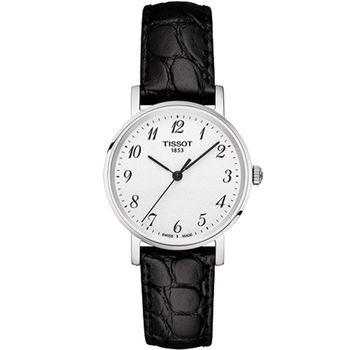 TISSOT 天梭 EVERYTIME 都會優雅大三針女錶-銀x黑色皮帶/30mm T1092101603200