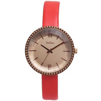 【JULIUS】蓓蓓魯多漆皮錶帶腕錶(橘色/36mm)