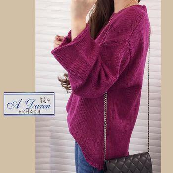 【A1 Darin】新款韓版圓領套頭顯瘦寬袖針織毛衣