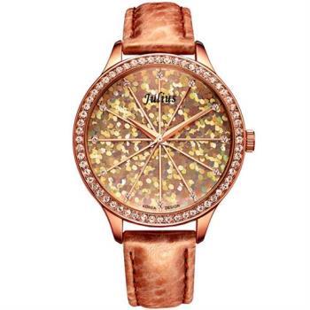 【JULIUS】璀璨萬花筒水鑽皮帶腕錶(三色/38mm)