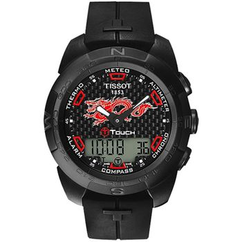 TISSOT 天梭 T-touch 飛龍在天鈦合金腕錶(IP黑/43mm) T0134204720101