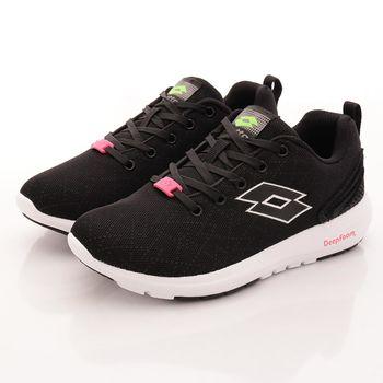 Lotto樂得-記憶泡綿跑鞋款-5070黑(女段)