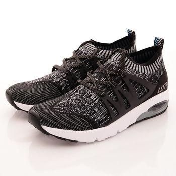 Lotto樂得-彈力飛織跑鞋款-5050黑(男段)