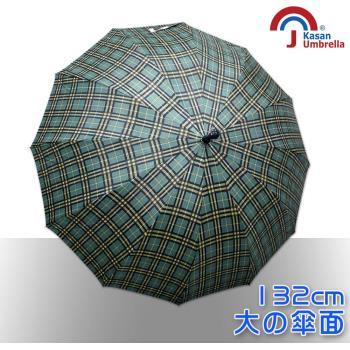【Kasan】大傘面12K銀格自動直傘(黃綠格)