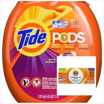 美國汰漬Tide 新一代洗衣凝膠球(2020g/81顆)*1*+ Tide洗衣槽洗潔劑(75g*5/盒)