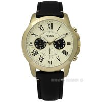 FOSSIL / FS5272 / Grant 紳士復古羅馬三環計時真皮手錶 米x金框x黑 44mm