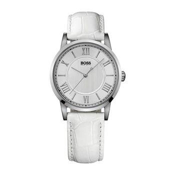 Hugo Boss 歐式羅馬風簡約腕錶-白/35mm H1502259