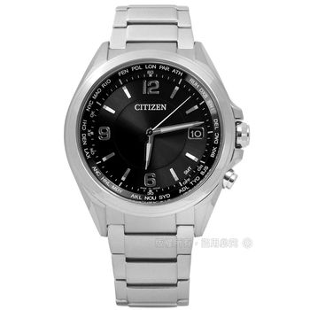 CITIZEN 星辰表 / CB1070-56F / 時尚簡約藍寶石水晶電波光動能鈦金屬手錶 黑色 39mm