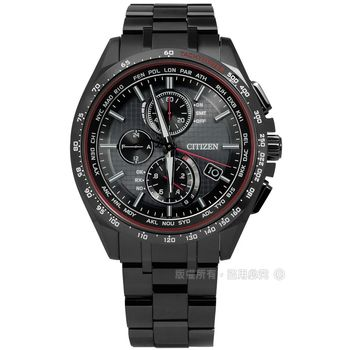 CITIZEN 星辰表★贈皮錶帶 / AT8145-59E / 限量輕質感電波光動能鈦金屬手錶 鍍深灰 41mm