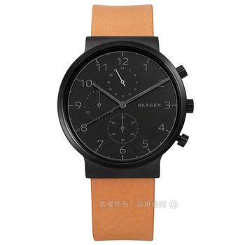 SKAGEN / SKW6359 / 北歐簡約紳士三環輕薄真皮手錶 黑x卡其 40mm