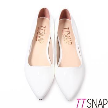 TTSNAP尖頭鞋-MIT簡約素面漆皮低跟鞋 黑/白/粉