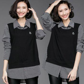 【麗質達人中大碼】假二件條紋上衣(XL-5XL)