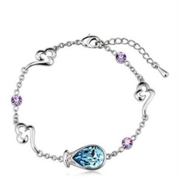 【米蘭精品】925純銀手環鑲鑽水晶手鍊精緻優雅氣質吸晴1色73ak36