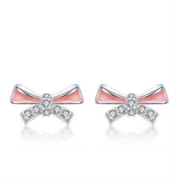 【米蘭精品】925純銀耳環鑲鑽耳飾大方優雅質感73al78