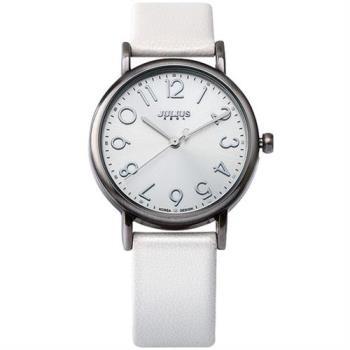 【JULIUS】我的小宇宙立體刻度皮錶帶腕錶(白色/33mm)