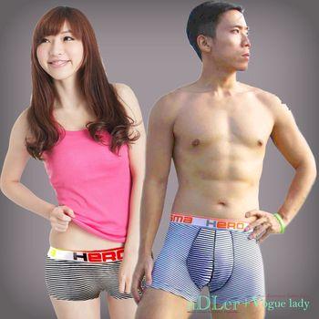 aDLer情侶內褲 亮眼條紋平口內褲情侶款(白條)