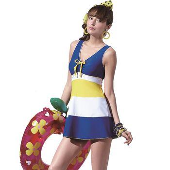 SAIN SOU  女連身裙泳裝 藍白黃條紋款(附泳帽) A98603