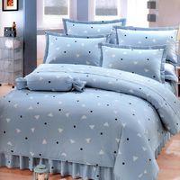 艾莉絲-貝倫 清新日和(6.0呎x7.0呎)雙人特大六件式(100%純棉)鋪棉床罩組(灰藍色)