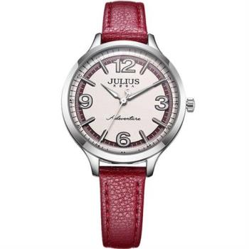 【JULIUS】無限旅程立體數字皮錶帶腕錶(三色/33mm)