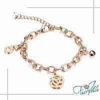 【伊飾童話】5號玫瑰*鈦鋼鈴鐺玫瑰金手鍊