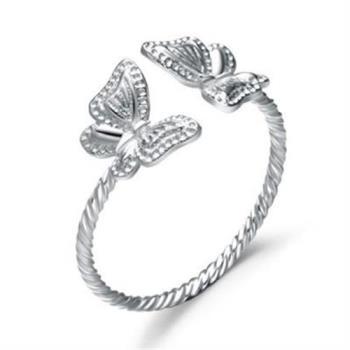 【米蘭精品】925純銀戒指銀飾可愛蝴蝶簡單百搭73an58