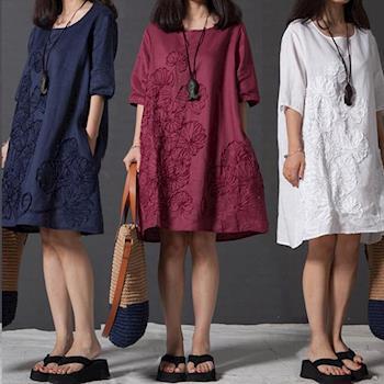 【LANNI藍尼】文藝大繡花棉麻連衣裙(小洋裝)