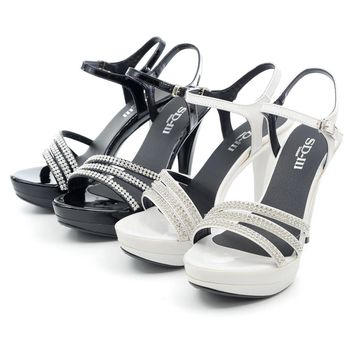 【 cher美鞋】MIT細帶水鑽優雅高跟涼鞋♥黑色/白色♥PSN-ADB