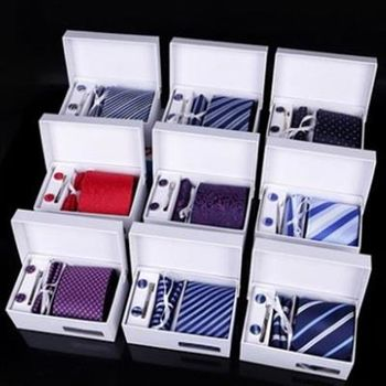 【米蘭精品】領帶手打領帶包含領帶夾袖扣方巾16色69d7(四件套)