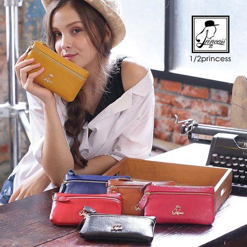 手拿包1/2princess真皮Candy colors雙層手機袋零錢包錢包手拿包-6色 [A0027]