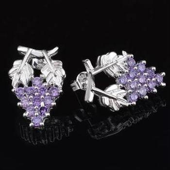 【米蘭精品】925純銀耳環鑲鑽耳飾奢華優美葡萄風格流行2色73ao39