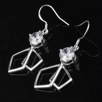 【米蘭精品】925純銀耳環鑲鑽耳飾精緻優美高貴流行73ao63